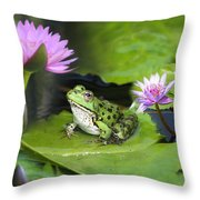 Frog And Water Lilies Throw Pillow