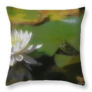 Frog And Water Lily Throw Pillow