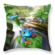 Frog Capades Throw Pillow