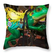 Frog Carrousel Ride Throw Pillow
