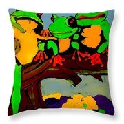 Frog Family Hanging Out On A Limb Throw Pillow