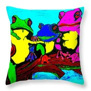 Frog Family Hanging Out On A Limb3 Throw Pillow