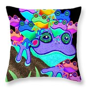 Frog Family Too Throw Pillow