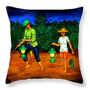 Frog Hunters Throw Pillow