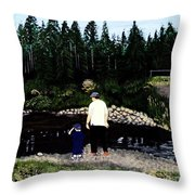 Frog Hunting With Poppy Throw Pillow