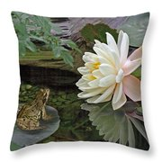 Frog In Awe Of White Water Lily Throw Pillow