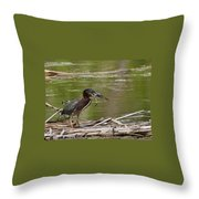 Frog Legs And Green Heron Throw Pillow