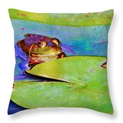 Frog - On A Water Lily Pad Throw Pillow