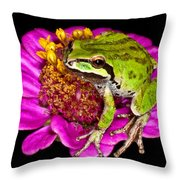 Frog  On Flower Throw Pillow