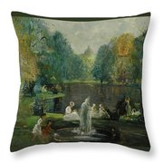 Frog Pond In Boston Public Gardens Throw Pillow