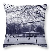 Frog Pond Skating Throw Pillow
