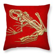 Frog Skeleton In Gold On Red  Throw Pillow