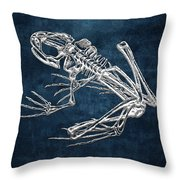 Frog Skeleton In Silver On Blue  Throw Pillow