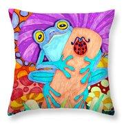 Frog Under A Mushroom Throw Pillow