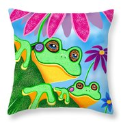 Froggies And Flowers Throw Pillow