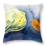 Froggy And Gourds Throw Pillow