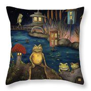 Frogland Throw Pillow by Leah Saulnier The Painting Maniac