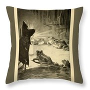 Frogs And Candle Throw Pillow