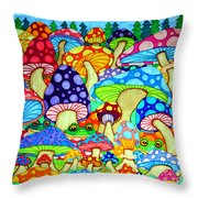 Frogs And Magic Mushrooms Throw Pillow