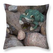 Frogs Imitation And Real  Throw Pillow