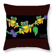 Frogs On Vines Throw Pillow