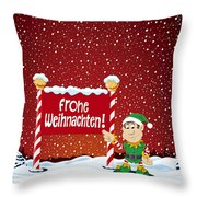 Frohe Weihnachten Sign Christmas Elf Winter Landscape Throw Pillow
