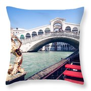 From A Gondola Near Rialto Bridge Throw Pillow