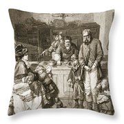 From Hand To Mouth, Engraved By J.m Throw Pillow