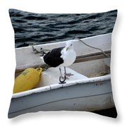 From Rockport Ma A Seagull Chilling Out In A Rowboat Throw Pillow