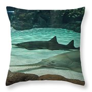 From The Deep - Sawtooth Ray Sharks Throw Pillow