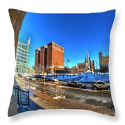 From The Stairs Of City Hall Winter 2013 Throw Pillow