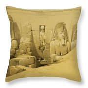 Front Elevation Of The Great Temple Of Aboo Simbel Throw Pillow by David Roberts