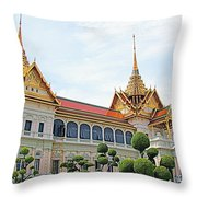 Front Of Reception Hall At Grand Palace Of Thailand In Bangkok Throw Pillow