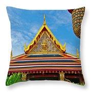 Front Of Royal Temple At Grand Palace Of Thailand In Bangkok Throw Pillow