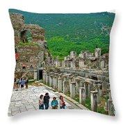 Front Of Theater In Ephesus-turkey Throw Pillow