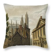 Front Of Trinity Hall, Cambridge Throw Pillow by Augustus Charles Pugin