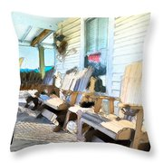 Front Porch On An Old Country House 2 Throw Pillow