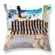 Front Porch On An Old Country House  3 Throw Pillow