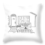 Front View Of A House And On The Lawn Is A Sign Throw Pillow