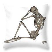 Front View Of A Human Skeleton Posing Throw Pillow