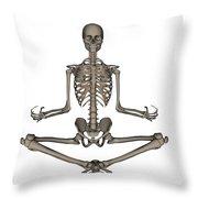 Front View Of Human Skeleton Meditating Throw Pillow