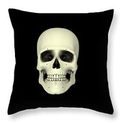 Front View Of Human Skull Throw Pillow
