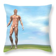 Front View Of Male Musculature Walking Throw Pillow