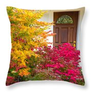 Front Yard Autumn Decor, Quincy California Throw Pillow