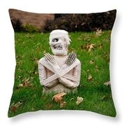 Front Yard Halloween Graveyard Throw Pillow