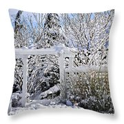 Front Yard Of A House In Winter Throw Pillow