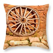 Frontier Wagon Wheel Throw Pillow