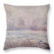 Frost Near Vetheuil Throw Pillow by Claude Monet