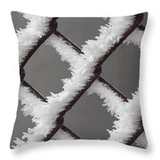 Frost On The Fence Throw Pillow