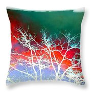 Frost Shrouded Tree Throw Pillow